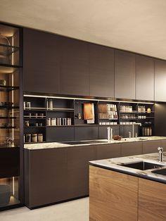 KITCHENS - POLIFORM | Artex Kitchen Room Design, Kitchen Dinning, Kitchen Cabinet Design, Kitchen Interior, Contemporary Fireplace Designs, Contemporary Kitchen Design, Green Kitchen Cabinets, Brown Kitchen Furniture, Dirty Kitchen