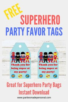 Free Superhero Thank You Tags Superhero Party Bags, Superhero Party Decorations, Superhero Party Favors, Fun Party Themes, Batman Party, Party Ideas, Toddler Party Favors, Party Favors For Adults, Party Favors For Kids Birthday