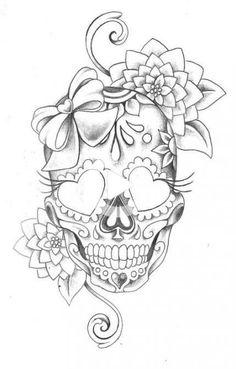 Skull Couple Tattoo, Girly Skull Tattoos, Skull Tattoo Flowers, Skull Girl Tattoo, Flower Thigh Tattoos, Girl Skull, Skull Art, Girl Tattoos, Female Thigh Tattoos