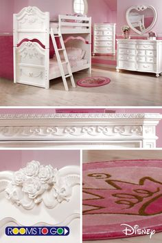 Designed to appeal to your little princess, this bed is exquisitely detailed.  The dresser has curved drawer fronts and custom hardware. Antiqued white finish is beautifully detailed with beading, bows and fluted spool feet.