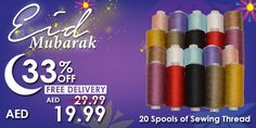 20 Spools Sewing Thread #Eid #mubarak #offer #deals #discount #sale #promo #sewing #stitching #craft #appliques #thread #multicolor #quality