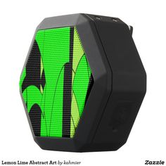 Lemon Lime Abstract Art Black Bluetooth Speaker