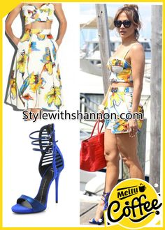 #JenniferLopez looked better than ever spending the day out in East Hampton, wearing a Milly Pop Art Floral Crop Bustier http://stylewithshannon.com/MillyPopArtFloralCropBustier  (was $215, now $106.99), the matching Milly Pop Art Floral Pleated Short http://stylewithshannon.com/MillyPopArtFloralPleatedShort  (was $225, now $112), and a pair of blue Giuseppe Zanotti Suede Strappy Heeled Sandals, get a similar look for less http://stylewithshannon.com/StrappyHeeledSandals  (was 135, now…