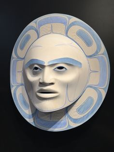 """Moonlight"" - Klatle-bhi (Kwakwaka'wakw/Squamish).  Carved in red cedar, acrylic paint and wash."