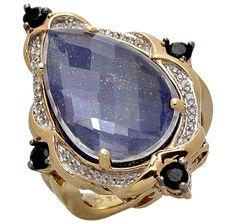 Tracey Bregman Multi Gemstone Sterling Silver & 18K Gold Plate Ring