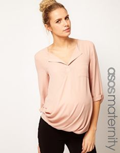 ASOS Maternity Blouse With Dropped Neck and Roll Back Sleeve