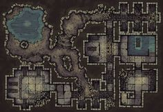 The Forgotten Crypt, a battle map for D&D / Dungeons & Dragons, Pathfinder, Warhammer and other table top RPGs. Tags: cave, crypt, dungeon, fantasy, graveyard, halloween, ruins, spooky, tunnel, underdark, underground