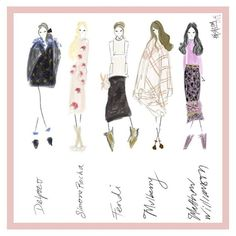 """LOOKS TO LOVE: FASHION WEEK EDITION!  @officialdelpozo   @fendiofficial  #matthewwilliamson  @mulberry  #simonerocha #fashion #fashcom #illustration…"""