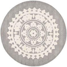 Handmade Soho Chrono Grey/ Ivory New Zealand Wool Rug (6' Round) | Overstock.com $199