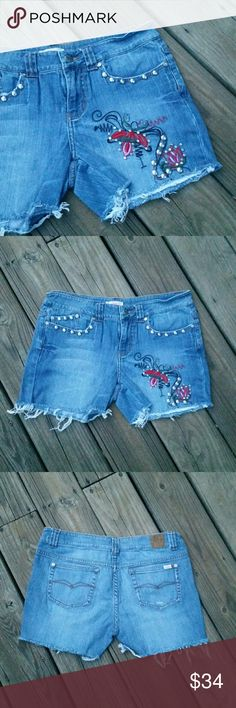 """CANDIE'S EMBELLISH EMBROIDER CUT OFF JEAN SHORTS Candie's embellished and embroidered custom cut off jean shorts. 98% cotton.  2% spandex.  28"""" waist.  8"""" rise.  3.5"""" inseam. Candie's Shorts Jean Shorts"""