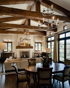 Elegant Great Rooms with Beams Rustic Great Rooms Family Room with rustic exposed beam ceiling french doors Traditional Family Rooms, French Country Living Room, Mediterranean Style Homes, Family Room Design, Ceiling Beams, Ceilings, House Colors, French Doors, Great Rooms