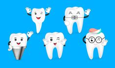 Set of cute cartoon tooth showing ok hand sign. Dental care concept. Illustration isolated on blue background.