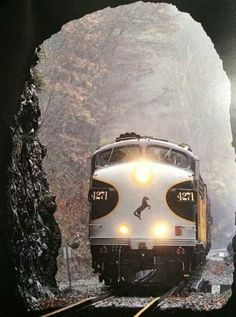 Great shot of Norfolk Southern's F Units entering a tunnel.