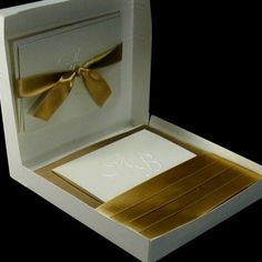 Boxed Couture Wedding Invitations, Antique Gold and Ivory