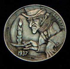 """Hobo Nickel """"Bah Humbug!"""" Scrooge Full Horn Howard Thomas"""