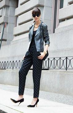 Moto Leather Jacket & Polka Dot Pants