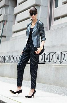 Moto Leather Jacket & Polka Dot Pants