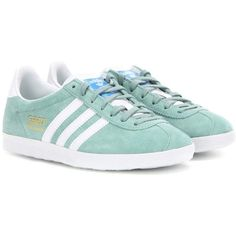 Adidas Gazelle OG Suede Sneakers (£54) ❤ liked on Polyvore featuring shoes, sneakers, green, adidas shoes, adidas trainers, green shoes, suede sneakers and green suede shoes