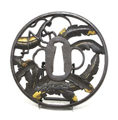 Marugata iron Tsuba - Praying mantis in leaves