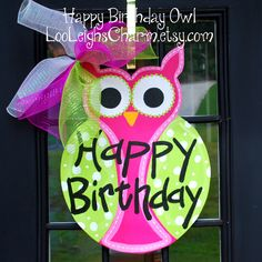 Birthday Door Hanger: Owl, Birthday Door Decoration, Owl Party Decoration. $45.00, via Etsy.