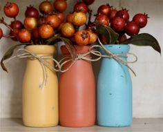 Fall Decor Rustic Home Decor Painted Jars Glass Milk Bottles Farmhouse Chic Decorations Centerpiece Vases