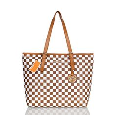 Michael Kors Jet Set Checkerboard Saffiano Travel Medium Tan Totes Outlet
