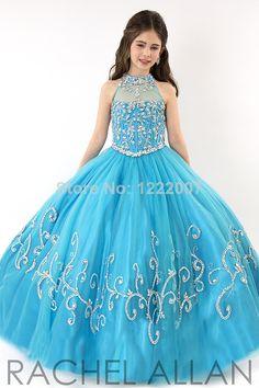Free Shipping Blue kids evening gowns Vestidos de menina Ruffles Ball Gown For Wedding Party Flower Girl dresses $129.00