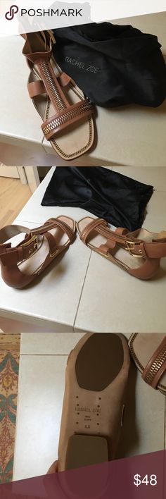 Rachel Zoe Never worn tan and gold sandals with buckle around the ankle. They still smell like leather! Rachel Zoe Shoes Sandals