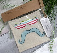 SALE  Fabric Drink Coaster  Moustache by TheCornishCoasterCo