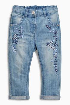Mid Blue Floral Embellished Jeans (3mths-6yrs)