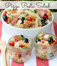 Pizza Pasta Salad - use whole grain noodles, and turkey pepperonis all your favorite pizza flavors in an easy -to-make, east-to-serve Pasta Salad. Take it to the picnic or have it on hand for cool summer suppers!