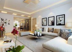 Feng Shui Wohnzimmer Einrichten Weiss Ecksofa Teppich Blumen