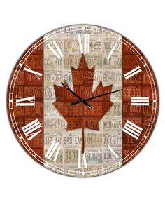 Designart Canada License Plate Flag Oversized Traditional Wall Clock - 36 x 28 x 1 Traditional Wall Clocks, Modern Traditional, How To Make Wall Clock, Wood Colors, Plates, Flag, Metal, Canada, Color Red