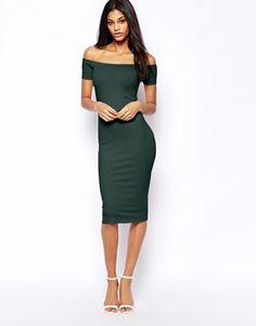 Imagen 1 de Vestido a media pierna ajustado de Bardot de ASOS