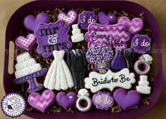 Bridal Shower cookies purple and black