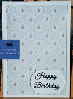 Happy Birthday Blue, Happy Birthday Cards, Flower Birthday Cards, Wax Paper, Etsy Uk, Card Maker, Greeting Cards Handmade, Homemade Cards, Blue Flowers