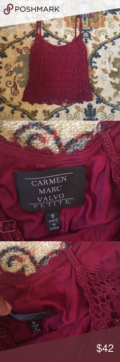 Beautiful Cranberry Beaded Tank Shell: 100% Rayon Lining: 100% Nylon/ In Very good condition. The tag is coming off on one corner. Pair w/ dress pants or a high waisted skirt. Add heels or boots for the perfect holiday look! 🎄🎄🎄🎁🎁🎁 Carmen Marc Valvo Tops Tank Tops