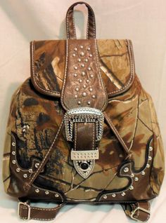 REALTREE CAMO BACK PACK CARRY-ON PURSE SATCHEL BLING SILVER STUDS NWT