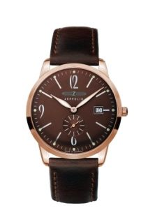Graf Zeppelin dress watch features a brown dial with retro-styled numbers and markers, and a rose gold plated case. A glass exhibition case back lets you view the Swiss automatic movement. Tag Watches, Rolex Watches, Watches For Men, Silver Watches, Ladies Watches, Wrist Watches, Leather Cuffs, Black Leather, Zeppelin Watch