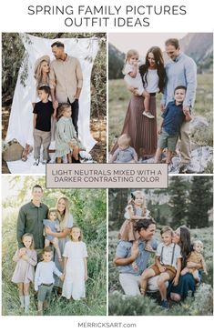 Neutral Family Photos, Summer Family Portraits, Family Picture Colors, Family Portrait Outfits, Family Portraits What To Wear, Extended Family Pictures, Spring Family Pictures, Family Pictures What To Wear, Outfits For Family Pictures