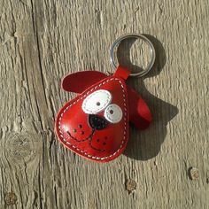 Cute little red dog leather animal keychain from SNiS Handmade Leather Goods by DaWanda.com