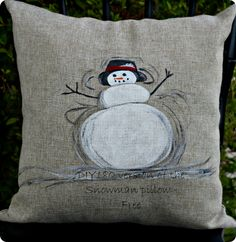 DIY Home Decor | Christmas Decorations | Check out this easy technique for painting your own snowman pillow just like Pottery Barn's!