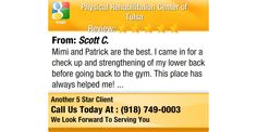 Mimi and Patrick are the best. I came in for a check up and strengthening of my lower back...