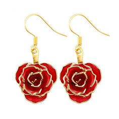 DeFaith Gold Dipped Real Rose Drop Dangle Earrings Gift Package Red * Learn more by visiting the image link. (This is an affiliate link) Special Gift For Girlfriend, Special Gifts For Her, Gifts For Wife, Rose Earrings, Wedding Earrings, Dangle Earrings, Christmas Earrings, Gold Dipped, Mother Gifts
