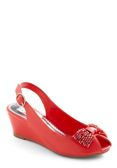 Subject to Change Wedge - Red, Solid, Beads, Bows, Buckles, Wedge