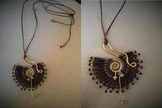 Handmade macrame necklace! Wire...beads..thread !love it <3