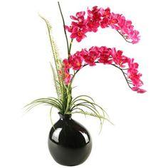 Red Cymbidium Orchids in Black Vase -