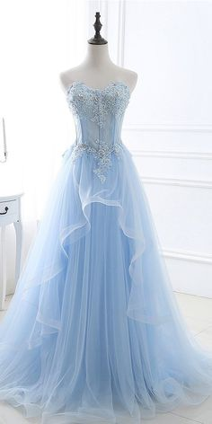 In Stock Eye-catching Tulle Sweetheart Neckline A-line Prom Dresses With Lace Appliques & Beadings Source by mycsooke Dresses Pretty Prom Dresses, A Line Prom Dresses, 15 Dresses, Ball Dresses, Elegant Dresses, Homecoming Dresses, Nice Dresses, Ball Gowns, Evening Dresses