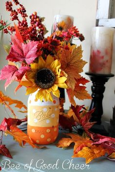 Fall Mason jar crafts- Polka dot candy corn