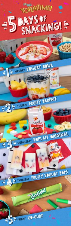 Yoplait has a snack for every day of the week! Grab a few cups of Yoplait Original and Go-GURT and get snacking. Click for more Yoplait snack ideas! Lunch Snacks, Healthy Snacks, Healthy Recipes, Lunches, Toddler Meals, Kids Meals, Baby Food Recipes, Snack Recipes, Food Cravings